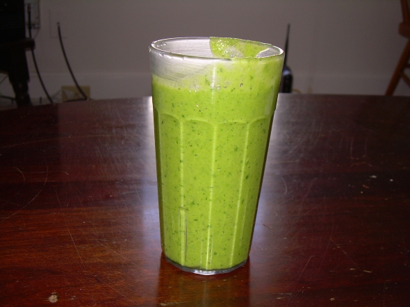 Pineapple, orange, spinach and a ton of organic cilantro.