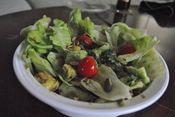 Lettuce, tomatoes, avocado, cilantro, garlic, sea salt, pumpkin seeds, sunflower seeds, lime juice