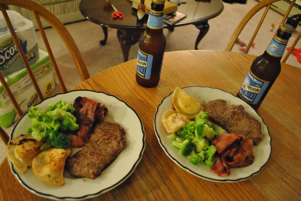 Steak, bacon, perogies, and broccoli