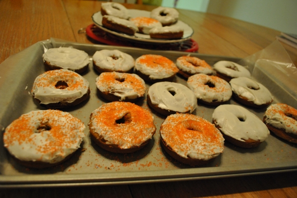 Pumpkin Spice Donuts with Maple Frosting