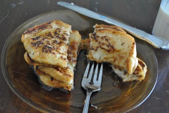 Eggnog French Toast-Made with pumpkin spice soymilk